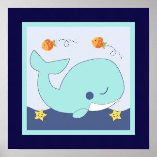 Blue Lagoon Whale Fish Seahorse Poster Wall Art