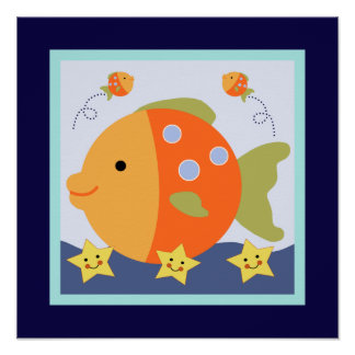 Blue Lagoon Whale Seahorse Poster Wall Art