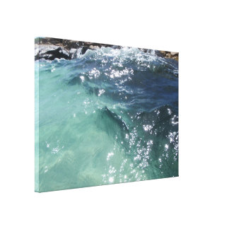 Blue lagoon window stretched canvas print