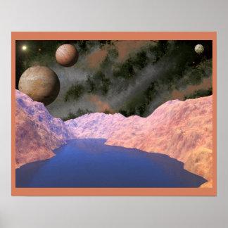 Blue Lake Alien Scene Poster