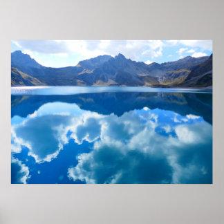 Blue lake, cloud landscape poster
