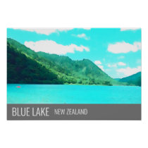Blue Lake New Zealand Lake Tikitapu travel print