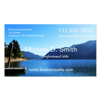 Blue lake, sky, moutain landscape professional Double-Sided standard business cards (Pack of 100)