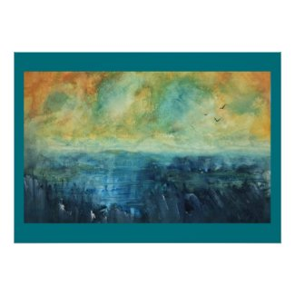 Blue Lake Sunset Poster
