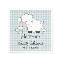 Blue Lamb Baby Boy Shower Paper Napkin
