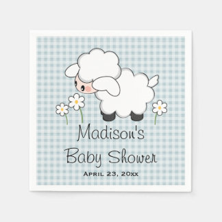 Blue Lamb Baby Boy Shower Paper Napkin