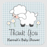 Blue Lamb Baby Shower Labels Stickers
