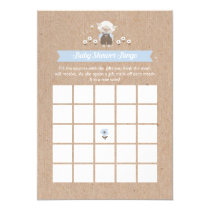 Blue Lamb Boy Baby Shower Bingo Game Card