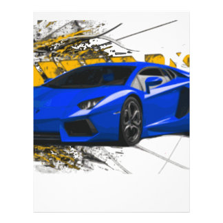 Blue LAMBO ABSTRACT Personalized Letterhead