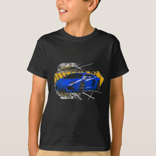 Blue LAMBO ABSTRACT T_Shirt