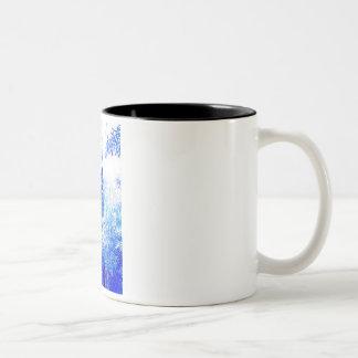 Blue lamp intensifies coffee mug