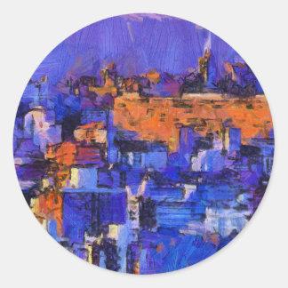 Blue landscape classic round sticker