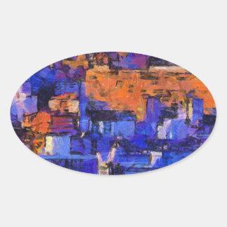 Blue landscape oval sticker
