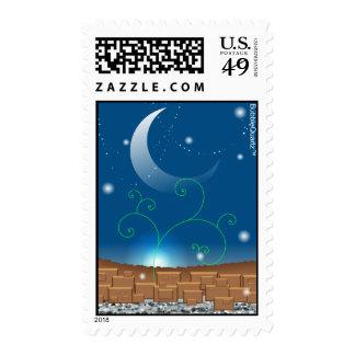 Blue landscape postage stamps