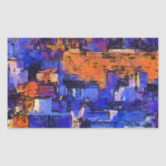 Blue landscape rectangular sticker
