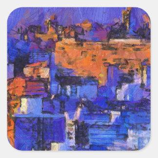 Blue landscape square sticker