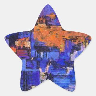 Blue landscape star sticker