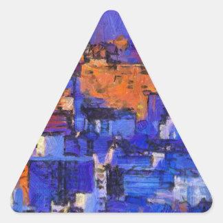 Blue landscape triangle sticker