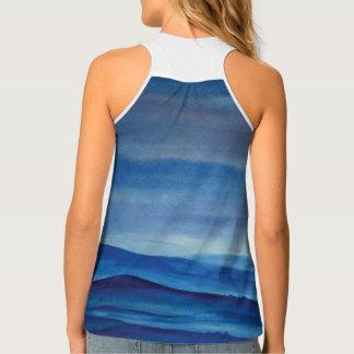 Blue Landscape Watercolor Women's Tank Top