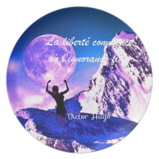 Blue landscape with motivational quote melamine plate