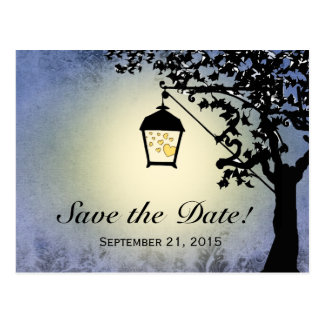 Blue Lantern Streetlamp Save the Date Postcard