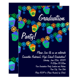 Blue Lanterns Luau Graduation Party Invitation