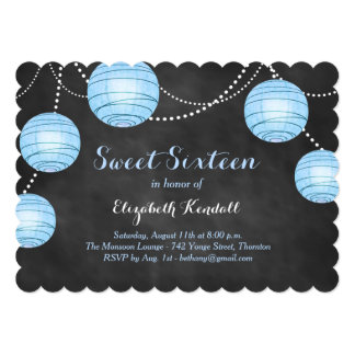 Blue Lanterns on Chalk Sweet Sixteen Invitation