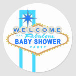 Blue Las Vegas Baby Shower Sign Stickers