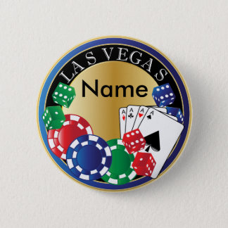 Blue Las Vegas Gambler - Dice, Cards, Poker Chips Pinback Button