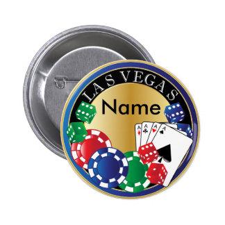 Blue Las Vegas Gambler - Dice, Cards, Poker Chips Pinback Button