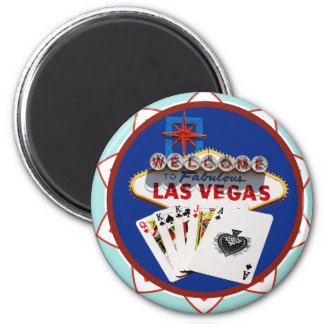 Blue Las Vegas Welcome Sign Poker Chip 2 Inch Round Magnet