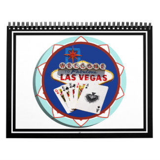 Blue Las Vegas Welcome Sign Poker Chip Wall Calendar
