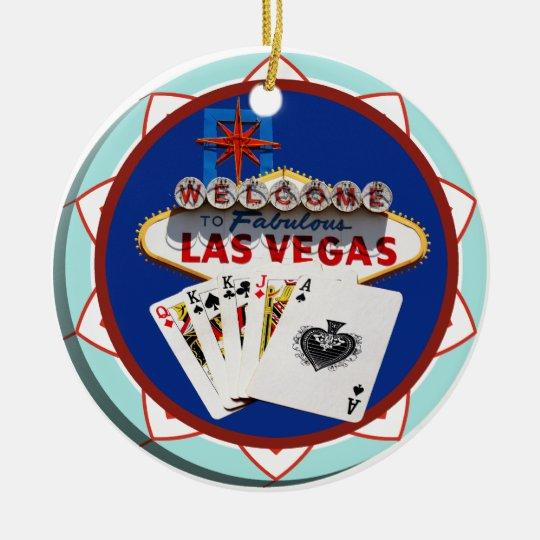 Blue Las Vegas Welcome Sign Poker Chip Ceramic Ornament