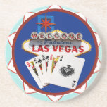 Blue Las Vegas Welcome Sign Poker Chip Coasters