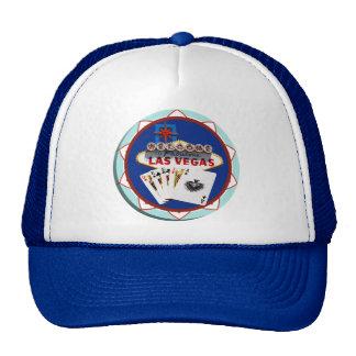 Blue Las Vegas Welcome Sign Poker Chip Trucker Hats