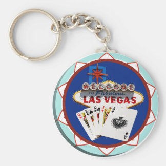 Blue Las Vegas Welcome Sign Poker Chip Basic Round Button Keychain