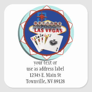 Blue Las Vegas Welcome Sign Poker Chip Square Sticker