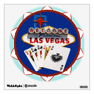 Blue Las Vegas Welcome Sign Poker Chip Wall Decal