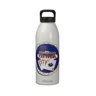 Blue Las Vegas Welcome Sign Poker Chip Water Bottle
