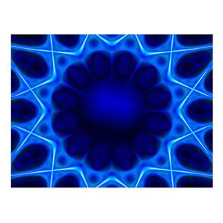 Blue Laser Light Fractal Postcard