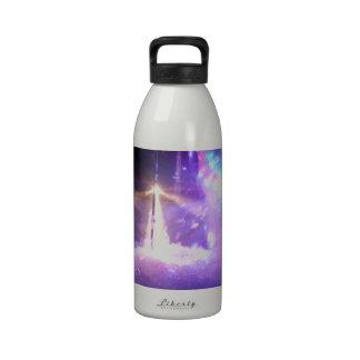 Blue lasers lights foam water bottle