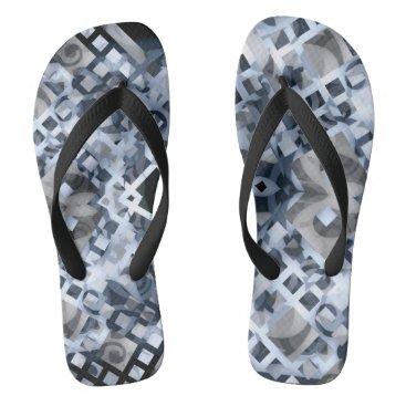 Beach Themed Blue Lattice Flip Flops