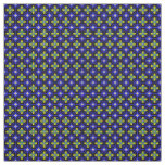 Blue lattice with Yellow and White Flowers Pattern Fabric