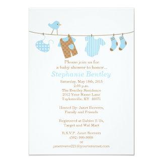 Blue Laundry Bird Baby Shower 5x7 Invitation