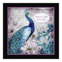 Blue Lavendar Peacock Watercolor Wedding Invite