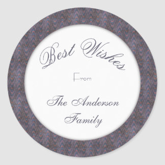 Blue Lavender Best Wishes Classic Round Sticker