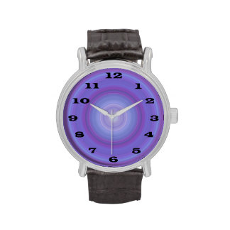 Blue Lavender Bullseye with bold black numbers Wristwatches