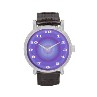 Blue Lavender Bullseye with bold white numbers Watches