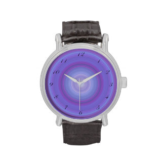 Blue Lavender Bullseye with script black numbers Wristwatches