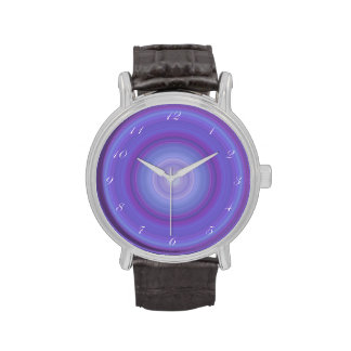 Blue Lavender Bullseye with script white numbers Wristwatches